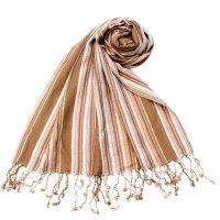 カラフルストライプスカーフ- - 茶色×白×カーキ系