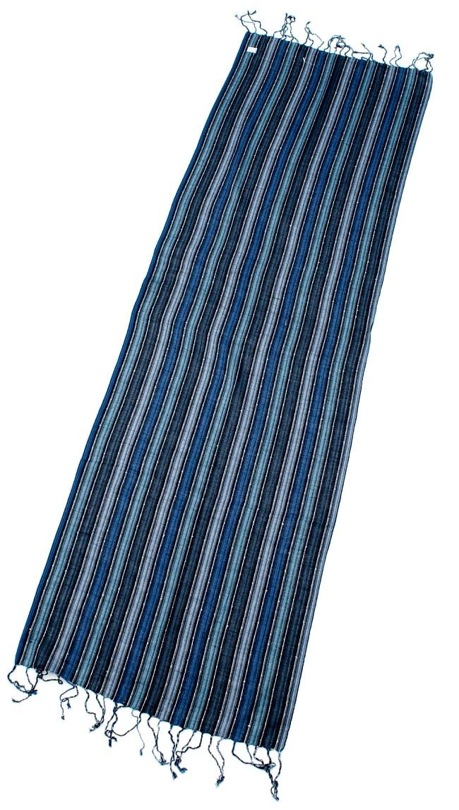 カラフルストライプスカーフ- - 水色×紺×黒系の写真2 - 全体写真です
