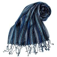 カラフルストライプスカーフ- - 水色×紺×黒系