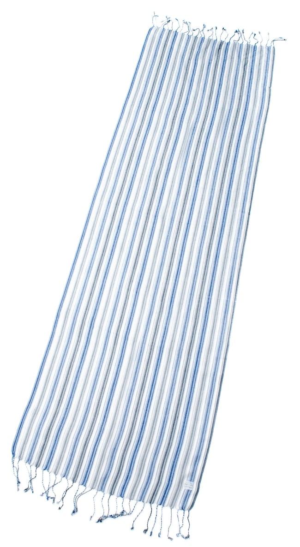 カラフルストライプスカーフ- - 白×青×グレー系の写真2 - 全体写真です