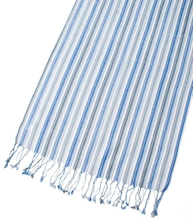 カラフルストライプスカーフ- - 白×青×グレー系の写真3 - 拡大写真です