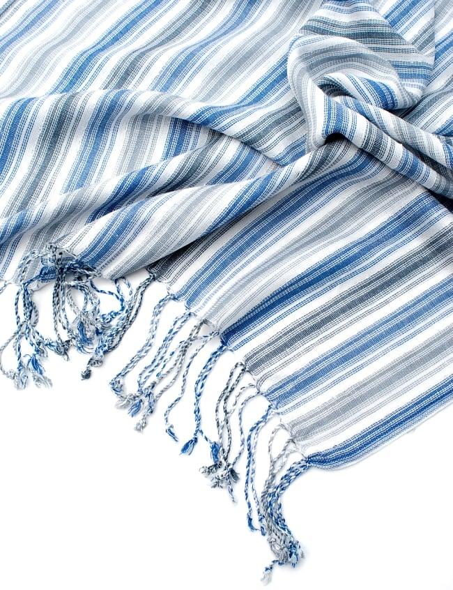 カラフルストライプスカーフ- - 白×青×グレー系の写真6 - フチ部分の写真です