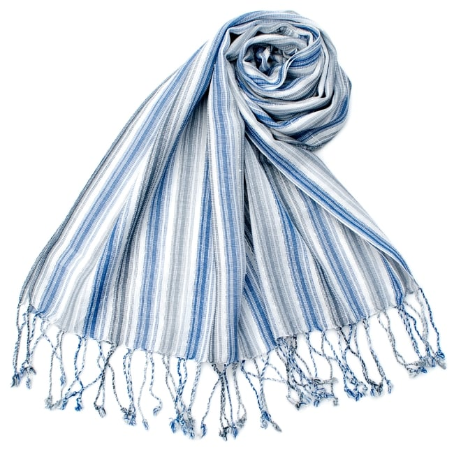 カラフルストライプスカーフ- - 白×青×グレー系の写真