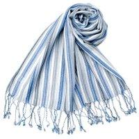 カラフルストライプスカーフ- - 白×青×グレー系