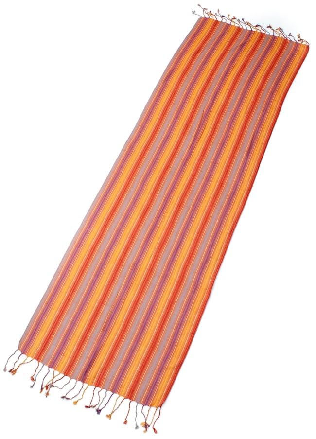 カラフルストライプスカーフ- - オレンジ×紫×黄色×水色系の写真2 - 全体写真です