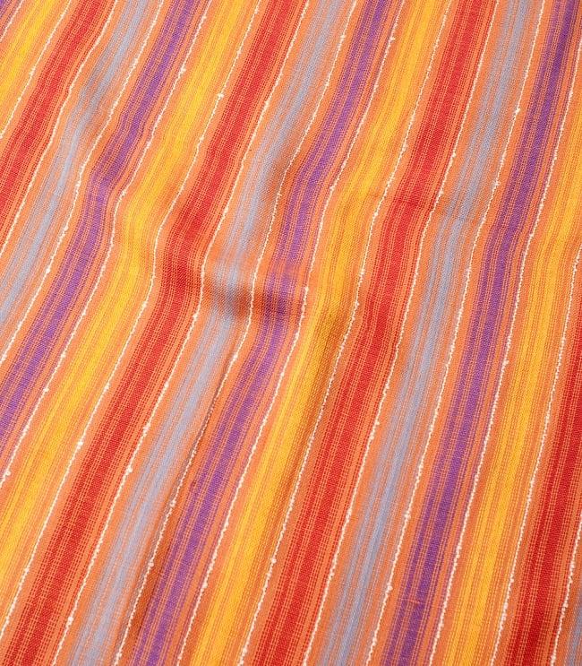 カラフルストライプスカーフ- - オレンジ×紫×黄色×水色系の写真4 - 色彩豊かなインドらしい綺麗な生地です