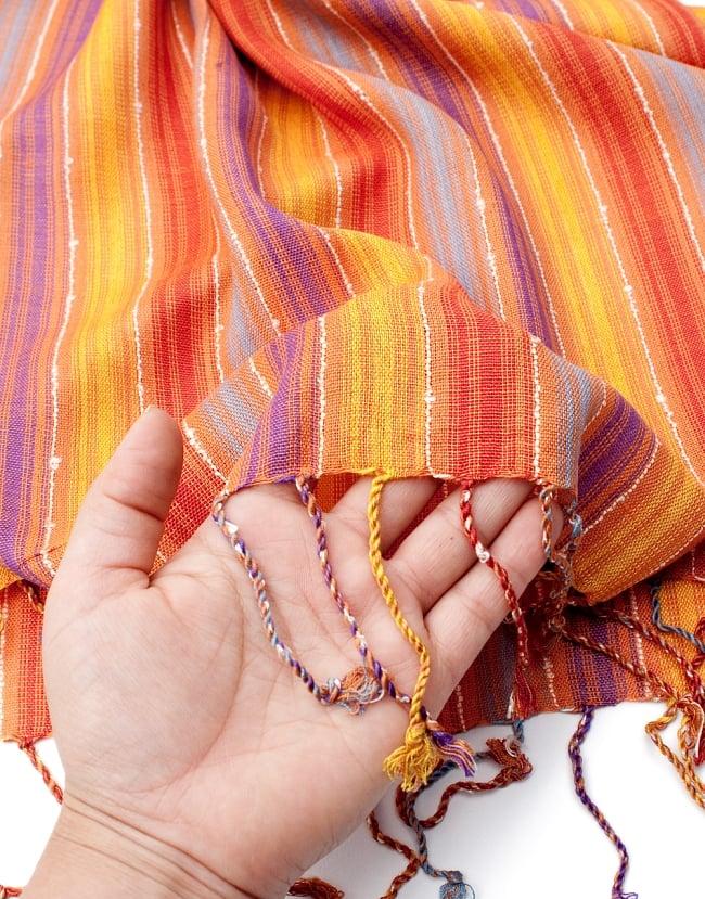 カラフルストライプスカーフ- - オレンジ×紫×黄色×水色系の写真7 - このような質感になります