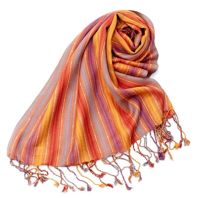 カラフルストライプスカーフ- - オレンジ×紫×黄色×水色系の写真