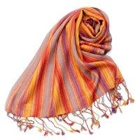 カラフルストライプスカーフ- - オレンジ×紫×黄色×水色系