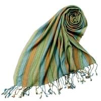 カラフルストライプスカーフ- - 緑×茶色×グレー×青系