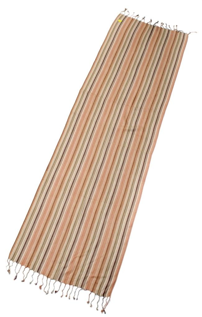 カラフルストライプスカーフ- - 茶×ベージュ×カーキ系の写真2 - 全体写真です