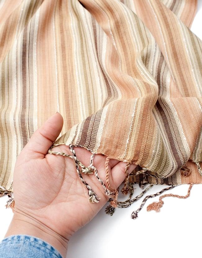 カラフルストライプスカーフ- - 茶×ベージュ×カーキ系の写真7 - このような質感になります