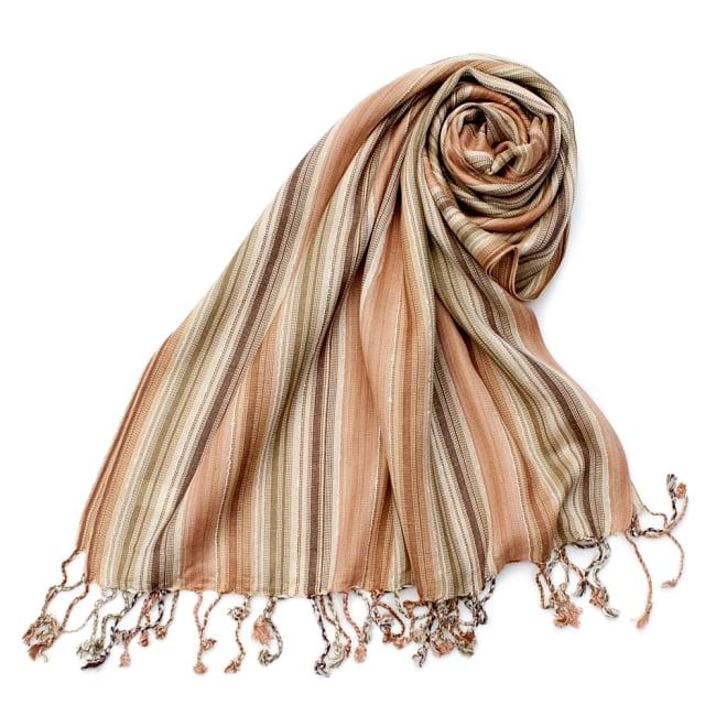 カラフルストライプスカーフ- - 茶×ベージュ×カーキ系の写真