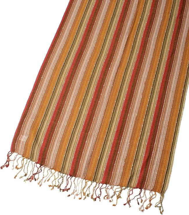 カラフルストライプスカーフ- - カーキ×茶×山吹×赤系の写真3 - 拡大写真です