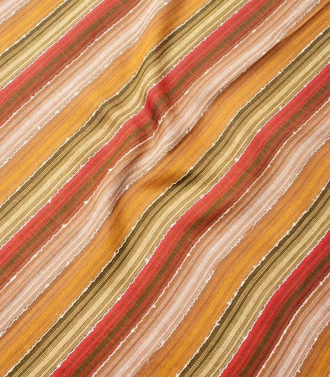 カラフルストライプスカーフ- - カーキ×茶×山吹×赤系の写真4 - 色彩豊かなインドらしい綺麗な生地です
