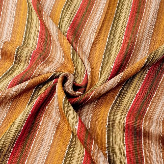 カラフルストライプスカーフ- - カーキ×茶×山吹×赤系の写真5 - ファッション用だけではなくインテリアファブリックとしても