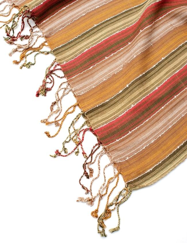 カラフルストライプスカーフ- - カーキ×茶×山吹×赤系の写真6 - フチ部分の写真です
