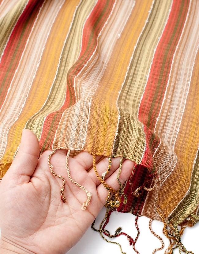 カラフルストライプスカーフ- - カーキ×茶×山吹×赤系の写真7 - このような質感になります