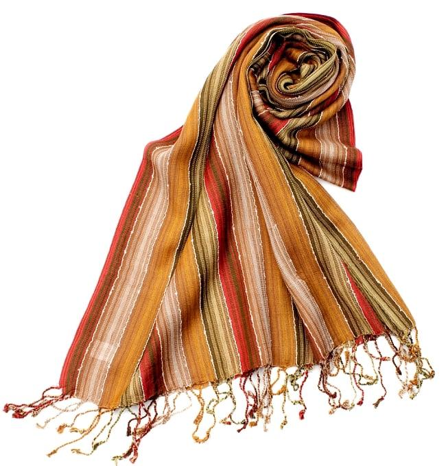 カラフルストライプスカーフ- - カーキ×茶×山吹×赤系の写真