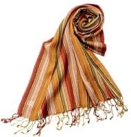 カラフルストライプスカーフ- - カーキ×茶×山吹×赤系