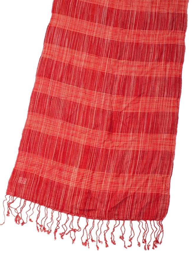 カラフルストライプスカーフ- - 赤系の写真3 - 拡大写真です