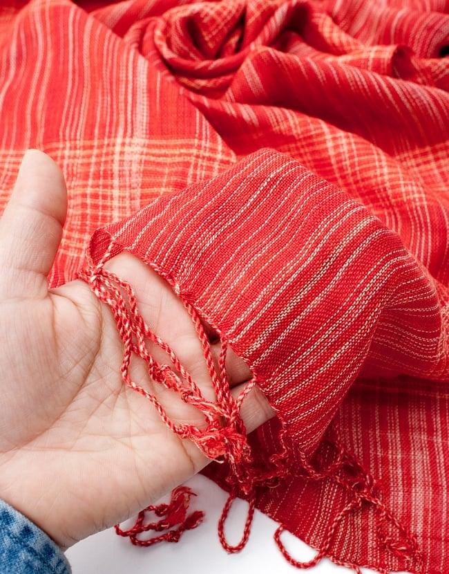 カラフルストライプスカーフ- - 赤系の写真7 - このような質感になります