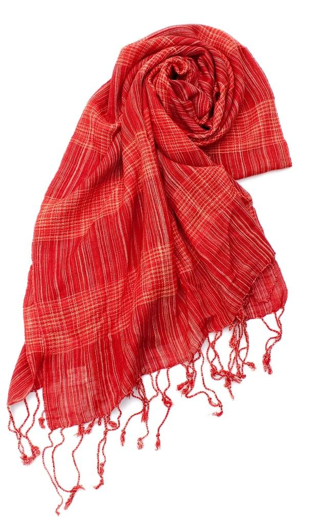 カラフルストライプスカーフ- - 赤系の写真