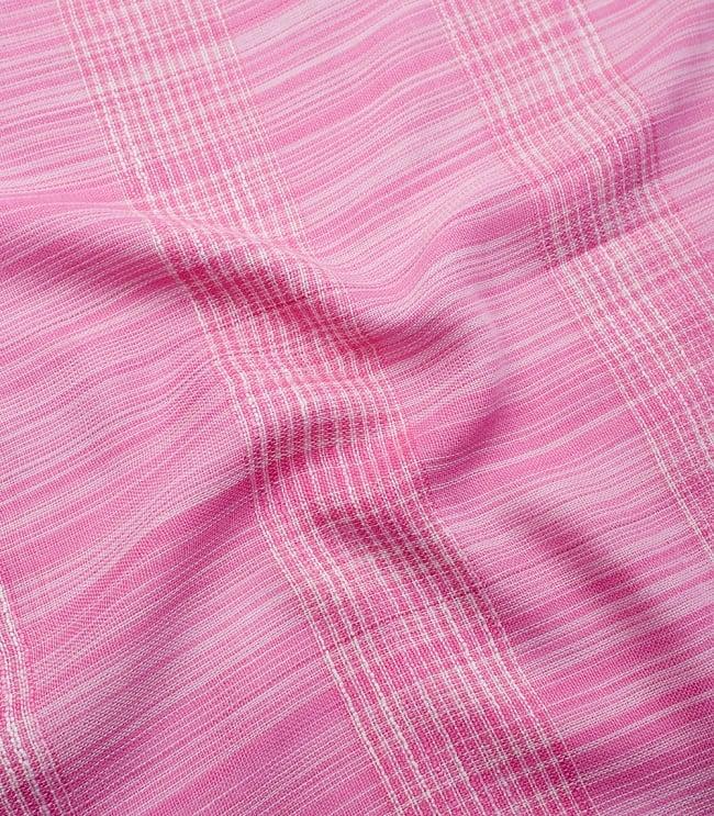 カラフルストライプスカーフ- - ピンク系の写真4 - 色彩豊かなインドらしい綺麗な生地です