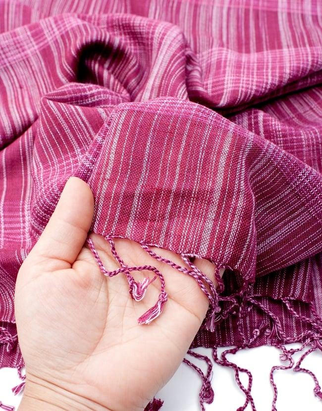 カラフルストライプスカーフ- - マゼンダ系の写真7 - このような質感になります