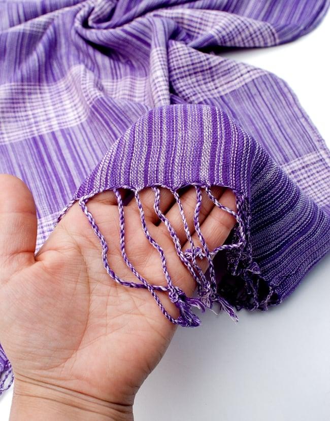 カラフルストライプスカーフ- - 紫系の写真7 - このような質感になります