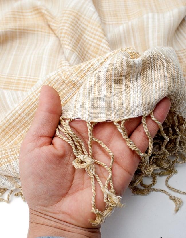 カラフルストライプスカーフ- - 白×山吹系の写真7 - このような質感になります