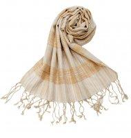 カラフルストライプスカーフ- - 白×山吹系