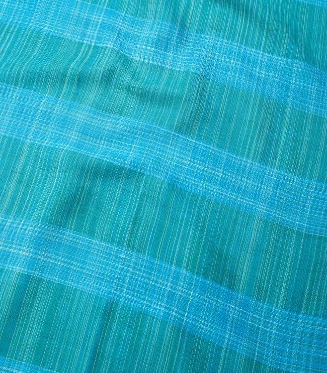 カラフルストライプスカーフ- - 青緑系 4 - 色彩豊かなインドらしい綺麗な生地です