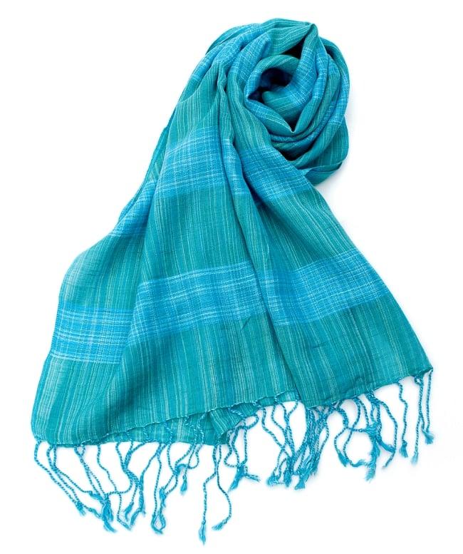 カラフルストライプスカーフ- - 青緑系の写真