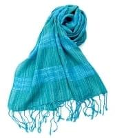 カラフルストライプスカーフ- - 青緑系