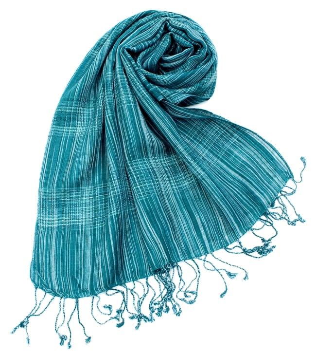 カラフルストライプスカーフ- - 緑系の写真