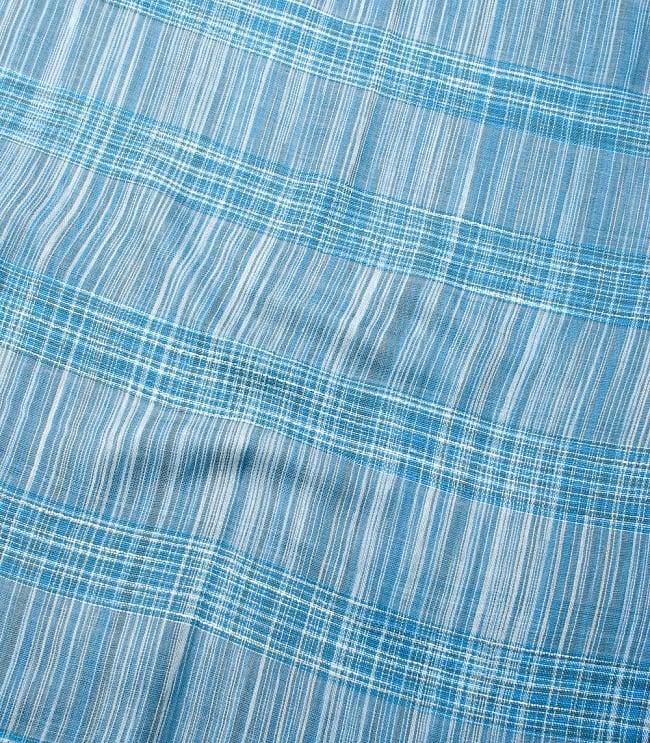 カラフルストライプスカーフ- - 水色系の写真4 - 色彩豊かなインドらしい綺麗な生地です