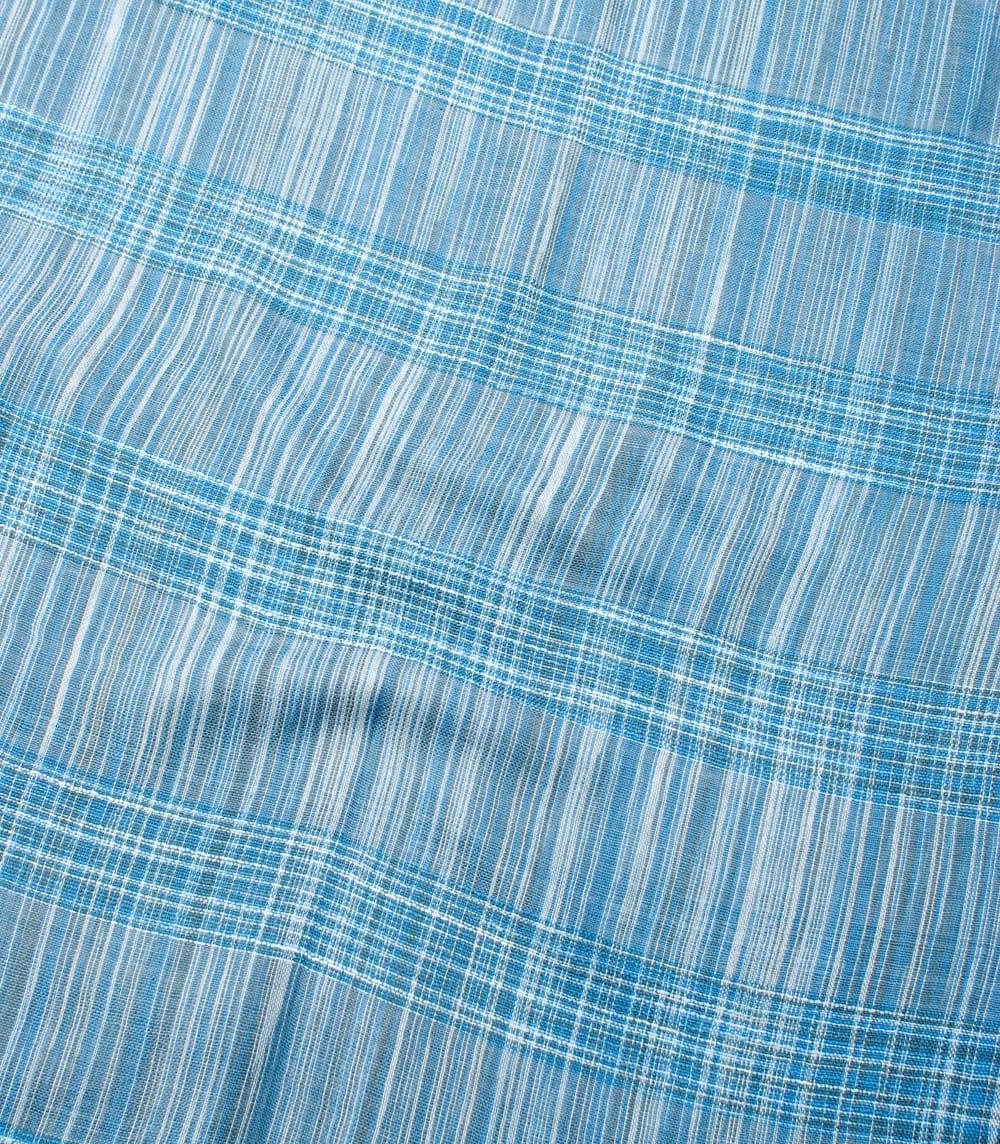 カラフルストライプスカーフ- - 水色系 4 - 色彩豊かなインドらしい綺麗な生地です