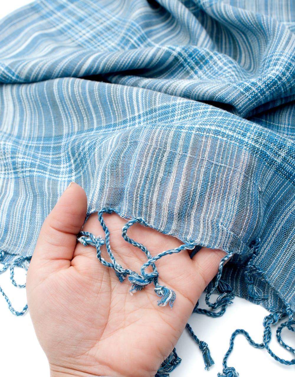 カラフルストライプスカーフ- - 水色系 7 - このような質感になります