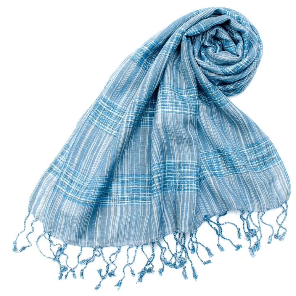 カラフルストライプスカーフ- - 水色系の写真