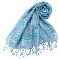 カラフルストライプスカーフ- - 水色系