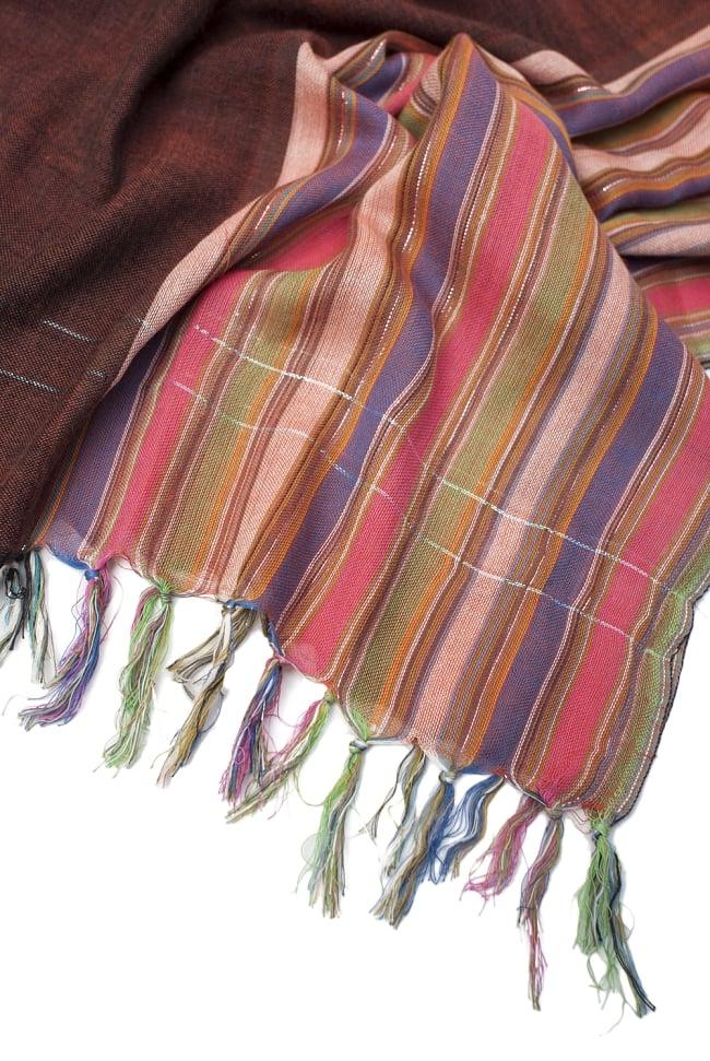 ボーダーストライプストール〔180cm×96cm〕 4 - フリンジの部分です。色彩豊かなインドらしいカラーリングです。