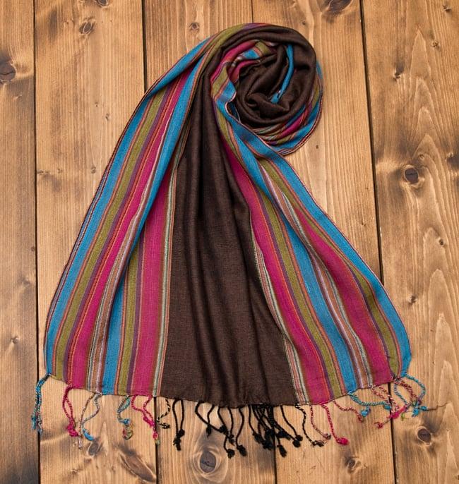 カラフルストライプスカーフ- 【アソート】の写真2 - インドの聖地、バラナシから。ストライプ柄の綺麗なスカーフです。