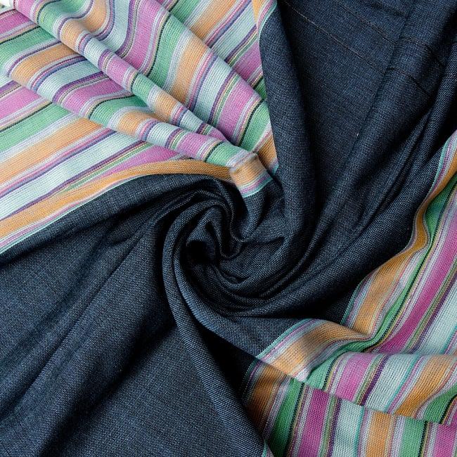 ボーダーストライプストール〔173cm×98cm〕 6 - 色彩のインドらしく、綺麗な布です