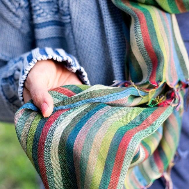 オールストライプストールカラフル系〔175cm×96cm〕 9 - ナチュラルな質感が素敵な布です
