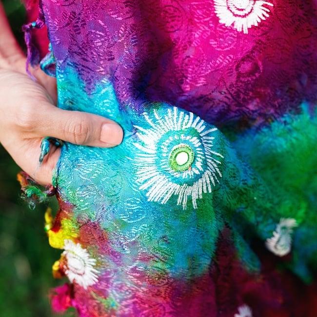 虹色タイダイ染め サイケデリックホーリーファブリック〔170cm×108cm〕の写真12 - ミラーがまたいい雰囲気を出しています
