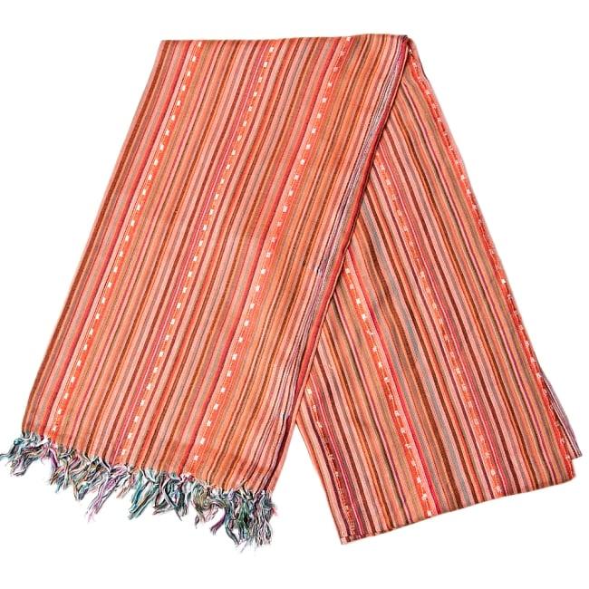 インドの伝統布ルンギーのボーダーストール〔200cm×97cm〕オレンジ 2 - 折りたたむとこのような感じです
