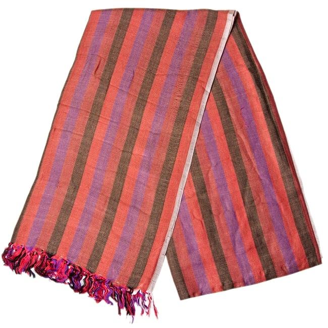 インドの伝統布ルンギーのボーダーストール〔200cm×97cm〕えんじ 2 - 折りたたむとこのような感じです