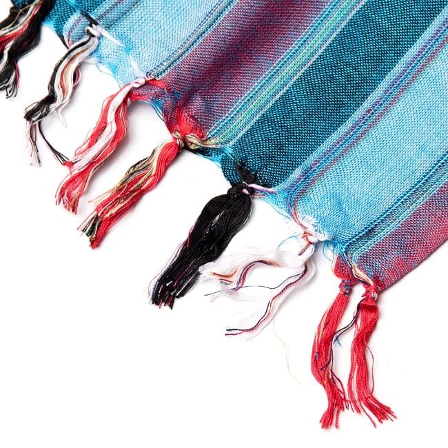 インドの伝統布ルンギーのボーダーストール〔200cm×97cm〕ブルー×レッド 4 - 縁の写真です