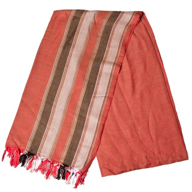 インドの伝統布ルンギーのボーダーストール〔200cm×97cm〕ブラウン×オレンジ 2 - 折りたたむとこのような感じです